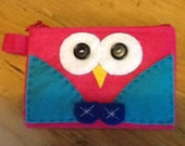 Pink Felted Coin Purse - Owl