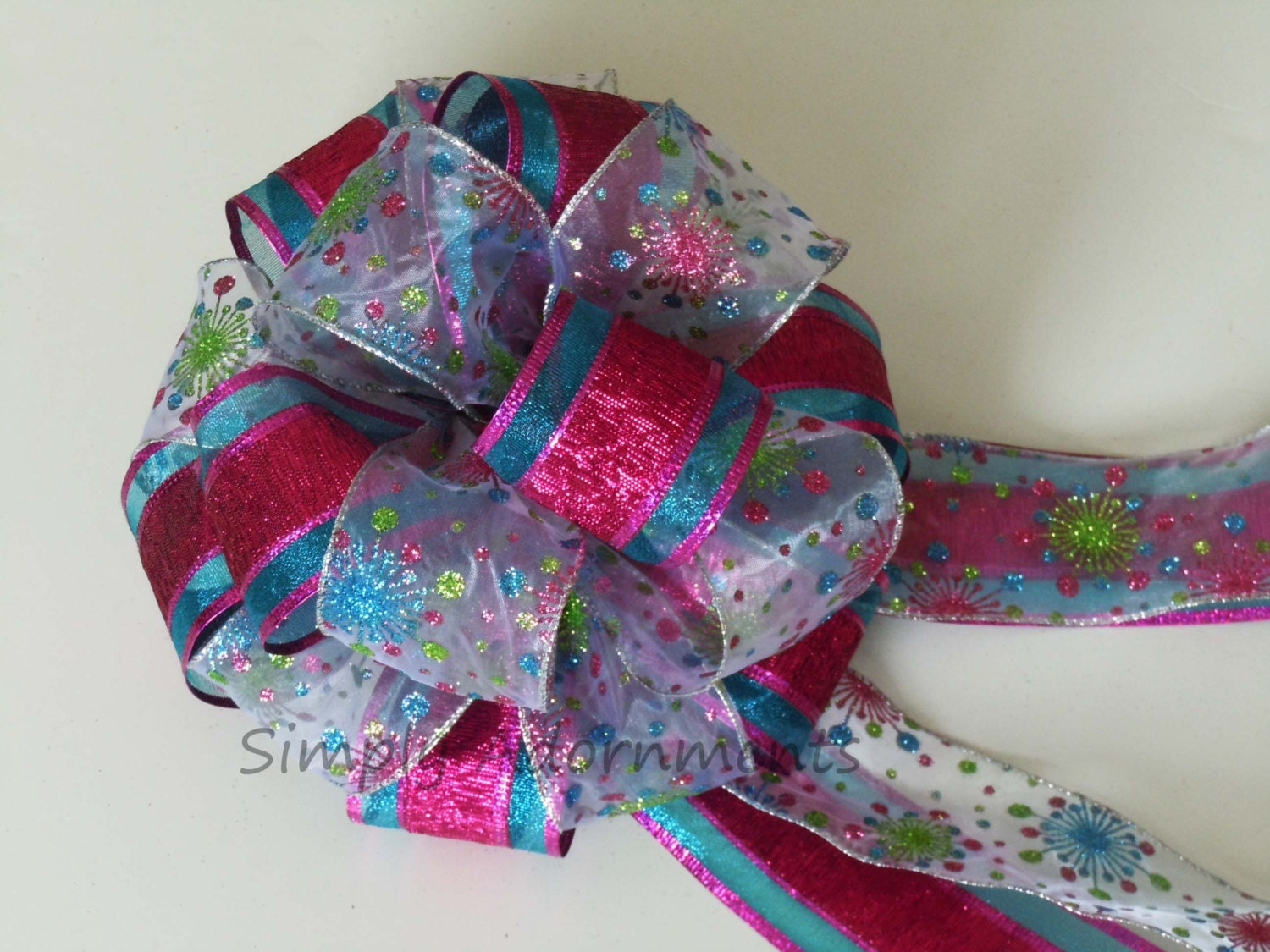Blue pink christmas tree bow christmas by simplyadornmentsss - Pink and blue christmas tree ...