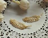 6pcs raw brass plating matt gold feather   pendant finding
