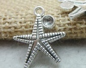 30PCS antique silver 24x18mm starfish charm pendant- XC7517