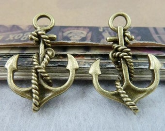 20PCS antique bronze 18x28mm anchor charm pendant- Wc6488