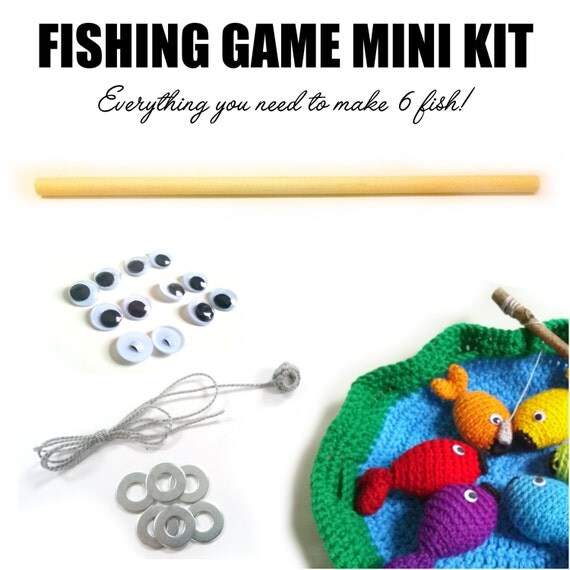 Rainbow Fishing Game Mini Kit with High-Quality Crochet Pattern - PLUS BONUS Kit Exclusive Pattern for the Pond Carrying Bag