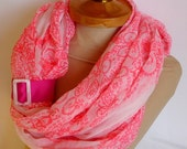 Pink Infinity Scarf, Long Summer Scarf, Pink Color, spring summer  scarf, very soft  scarf, Loop Scarf,