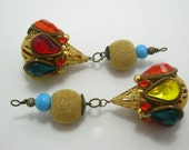 "destash - handmade assemblage pendants / earring drops - two pieces - 2.5"""
