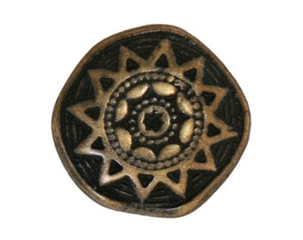 3 Sun Star 5/8 inch ( 17 mm )  Metal Buttons Antique Brass Color