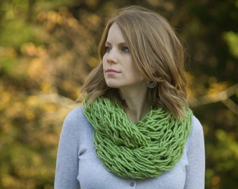 Lime Green Knit Scarf, Avocado Womens Infinity Scarf