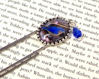 Bookmark Bluebird Charm Bookmark Large Paper Clip Style, Altered Art Bookmark, Photo Charm Bookmark