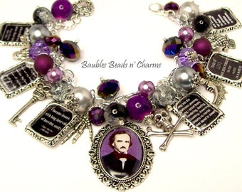 Edgar Alan Poe Quotes Charm Bracelet, Poe Literary Charm Bracelet, Poe Jewelry, Book Bracelet, Literary Jewelry, Authors Writers Bracelet