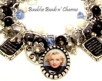 Marilyn Monroe Quotes Charm Bracelet in Black, Photo Charm Bracelet, Altered Art Charm Bracelet, Silver Charm Bracelet