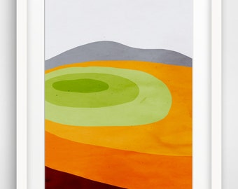 Mid Century Modern Large Wall Art, Abstract Landscape, Fine Art Print, Landscape Print, Orange Art
