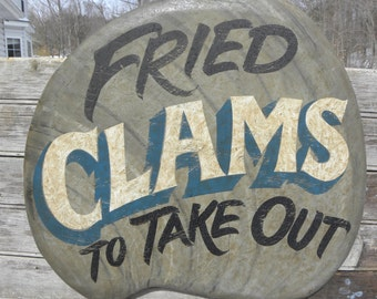 Clam  Sign, hand painted  wooden ZFS C2