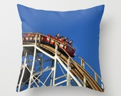 Photo pillow cover of Coney Island Cyclone with deep blue sky
