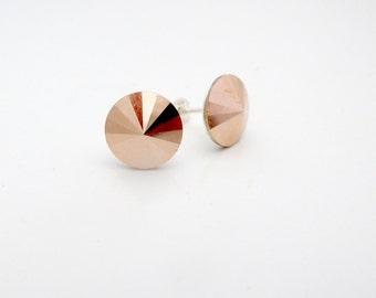 Rose Gold crystal earrings - Rose Gold 12mm Swarovski Rivoli Crystal Earrings