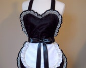 Sexy French Maid Apron in Black Satin and Lace with White Satin and Lace Maid's Apron