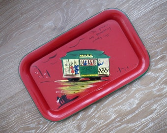 San Francisco Folk Art Red Painted Metal Tray from 1948