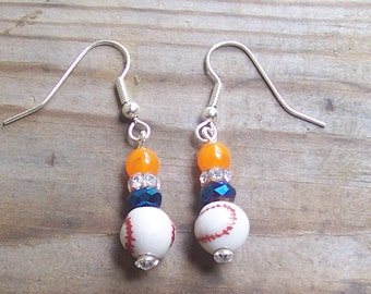 Blue and Orange Baseball Earrings