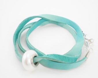 Turquoise Green Convertible Deerskin Wrap Bracelet / Necklace / Anklet