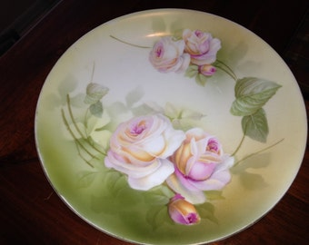 R S Germany Floral China Plate 1930's