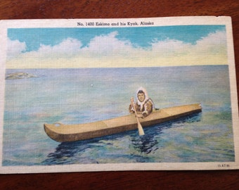2 Vintage Kyak, Alaska Postcards with Eskimo in Canoe
