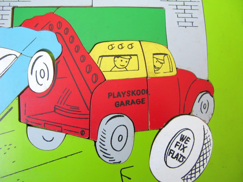 Vintage Playskool Garage Puzzle Wooden Puzzle