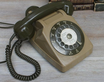 Vintage French Brown and khaki  Phone / Industrial telephone / Telephone 1960/1970s
