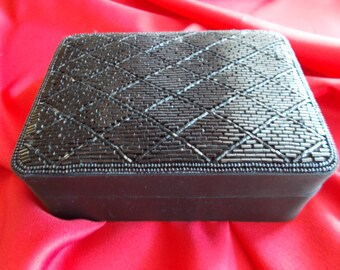 Small Vintage Black Jewelry Box  with Beaded Lid