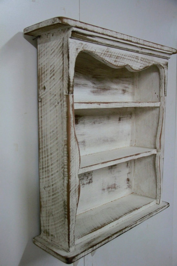 Shabby style wall shelf primitive wall shelf by for French country shelves