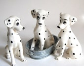 Perdita x 3 Original 101 Dalmations Vintage Retro Minimalist Collectibles Figural Ceramic Dog Set Home Decor Black & White 1961