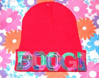 BOOGI Red Beanie Marbled Hat