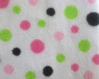 Hot Pink / Lime Dot Cuddle Minky 58 Inch Wide Fabric By The Yard.