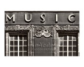 Music Shop Photo, Art Deco Music Store, Kansas City, Black and White, Sign Photography