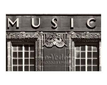 Music Shop Photo, Art Deco Music Store, Kansas City, Black and White, Sign Photography