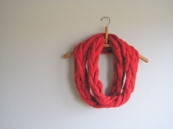 Red Cable Scarf Infinity Loop Hand Knit Cowl Wool By