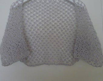 Grey Sleeved mohair shrug, hand knitted