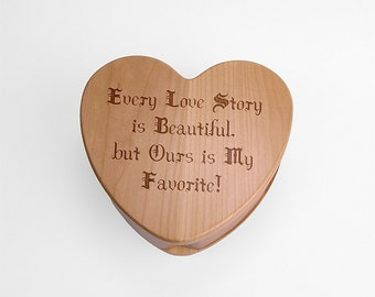 Heart Shaped Wood Keepsake Box, Jewelry Box, Treasure box, Valentine Box, Personalized, Custom, Ring Bearer Pillow Alternative, Trinket box