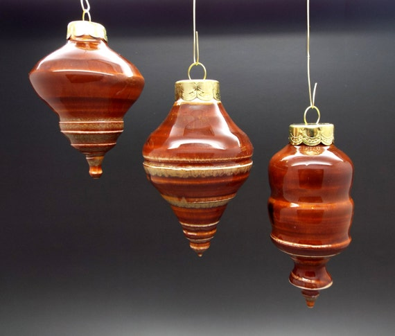 Christmas ornaments - glazed pottery decor, red brown, natural - one of a kind artisan heirloom piece, ceramic seasonal Christmas present