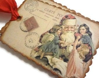 Santa With Kids Tags, Vintage Christmas Tags, French Holiday Tags, Christmas Gift Tags, Set of 10