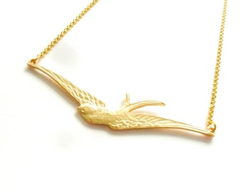 Swallow Necklace, Soaring Bird Necklace in 18ct Gold Plated Brass  Rockabilly Retro Sailor Tattoo Vintage Style