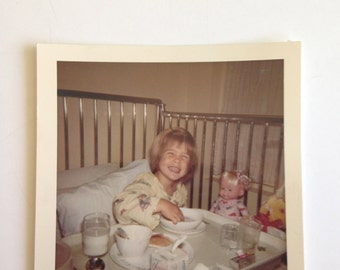Vintage Small Girl in Hospital Bed Photo from 1960s Kodachrome color Tonsils Removed Hospital Food