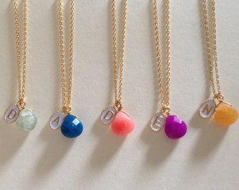 5 tiny initial necklaces with birthstone