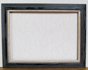 Midcentury 50s Atomic Grey Ivory Solid Wood Vintage Picture Frame Horizontal or Vertical/Very Solid and Sturdy