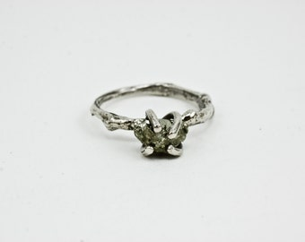 SALE Raw Pyrite Ring on A Sterling Silver Branch Ring, Statement Ring, Rustic, Nature Inspired