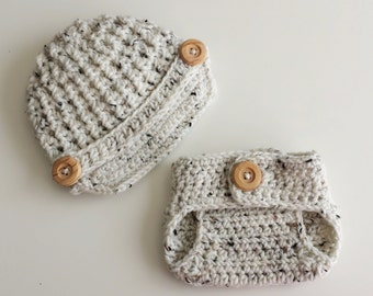 Newborn Photo Prop, Newsboy Baby Boy Hat and Diaper Cover Set, Oatmeal Crochet Baby Boy Hat,