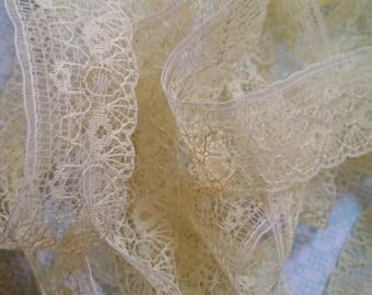 5 Yds Gorgeous Delicate Antique Lace Trim  | Lemon Cream | Pastel Yellow