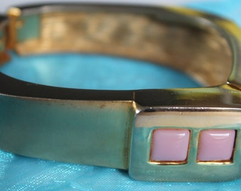 BRACELET Vintage  PIERRE CARDIN  Wide Gold Plated Square Bangle with Pink Lucite Stones from the 60-s