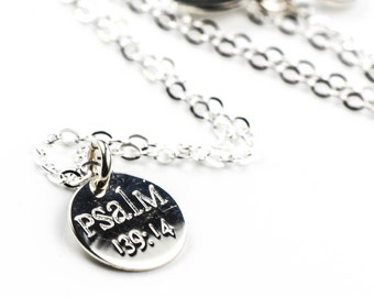 All Sterling Silver Psalm Necklace. Sterling, Spiritual, Mother's Gift Jewelry