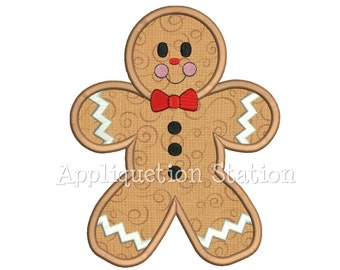 Gingerbread Man Applique Machine Embroidery Design Christmas Holiday Winter INSTANT DOWNLOAD