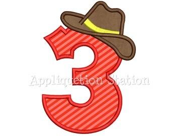 Number Three Cowboy Hat 3rd Birthday Applique Machine Embroidery Design boy third INSTANT DOWNLOAD