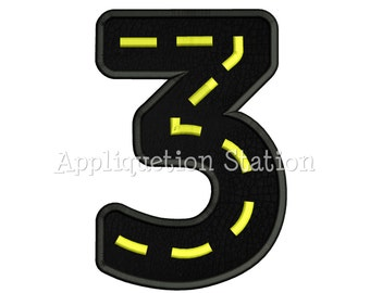Road Number Three 3rd Birthday Applique Machine Embroidery Design boy 3 INSTANT DOWNLOAD