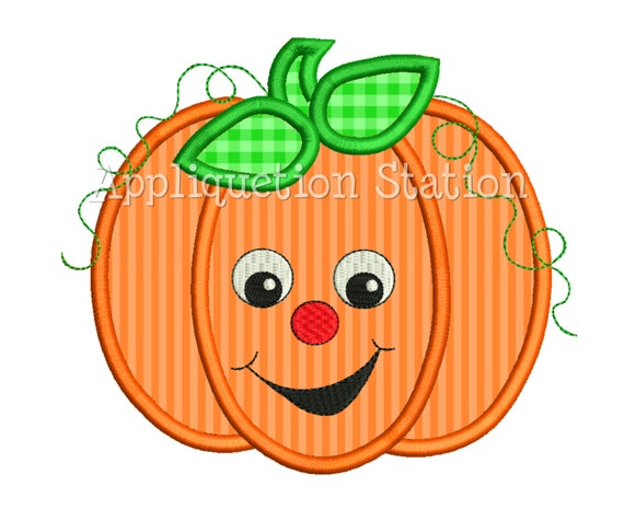 Pumpkin Fall Cute Smiley Face Applique Machine Embroidery Design orange thanksgiving INSTANT DOWNLOAD